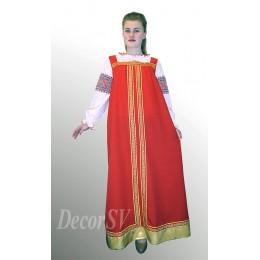 Русский сарафан красный с тесьмой (блузка продается отдельно)