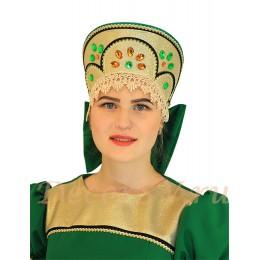 Кокошник с разноцветными камнями к костюму. Цвет зеленый.