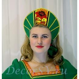 Кокошник к костюму. Цвет зеленый.