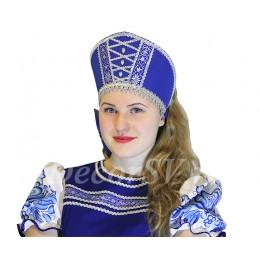 Кокошник со шнуровкой и камнями к костюму. Цвет синий.