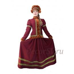 Русский народный костюм утепленный: жакет, юбка и шапка. Цвет бордовый