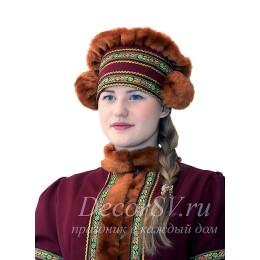 Шапка для народного костюма с помпонами. Цвет бордовый.
