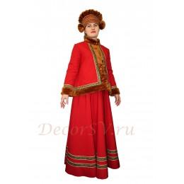 Русский народный костюм утепленный свободный : кафтан, юбка и шапка. Цвет красный.