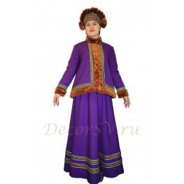 Русский народный костюм утепленный свободный: кафтан, юбка и шапка. Цвет сиреневый.