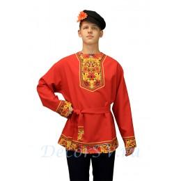 """Рубашка русская народная с рисунком """"Хохлома"""". Цвет красный."""