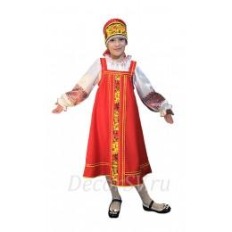 Детский русский народный костюм: красный сарафан + блузка + кокошник на завязке
