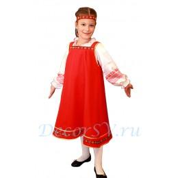 Русский народный костюм для девочки (блуза, сарафан, ленточка).