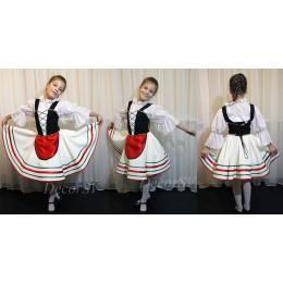 """Детский Итальянский танцевальный костюм """"Тарантелла"""": юбка с фартуком + блузка + корсет + панталоны"""