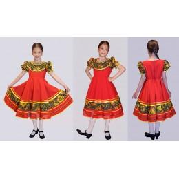 Платье детское в русском стиле красное + подъюбник.