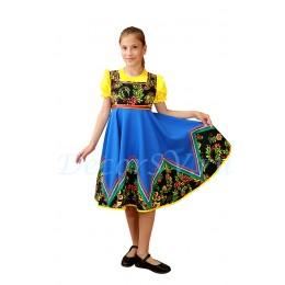Костюм детский плясовой: голубой сарафан и желтая блузка.