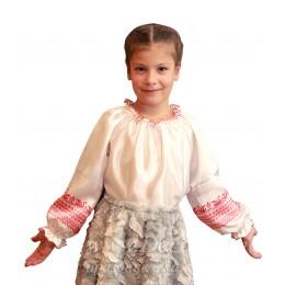 """Блузка народная для девочки, с рисунком """"Лебеди"""""""