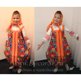 """Детский костюм """"Матрешка"""": сарафан + блузка + косынка"""