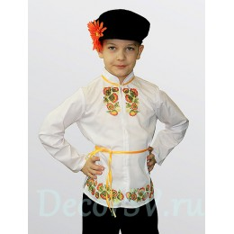 """Русский народный костюм для мальчика в стиле """"Хохлома"""" (рубаха, штаны, кепка, шнурок)"""