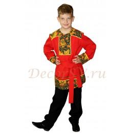 """Рубашка народная для мальчика с кушаком красная в стиле """"Хохлома"""""""