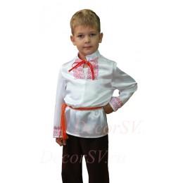 Рубашка народная атласная для мальчика со шнурком. Белая с рисунком