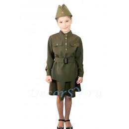 Комплект форменный: гимнастерка времен ВОВ + юбка + пояс + пилотка.