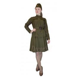 Комплект форменный женский: гимнастерка времен ВОВ + юбка + ремень + пилотка.