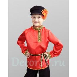 Русский народный костюм для мальчика с КРАСНОЙ рубахой: (рубаха, штаны, кепка, шнурок)
