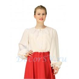 Блуза для русского костюма из белой ткани. Без рисунка