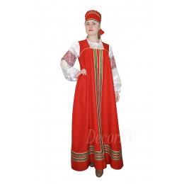 Русский народный костюм: сарафан + блузка + кокошник. Цвет красный