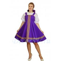 Русский народный сарафан. Цвет сарафана сиреневый