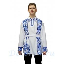 """Рубашка мужская народная в стиле """"Гжель"""""""