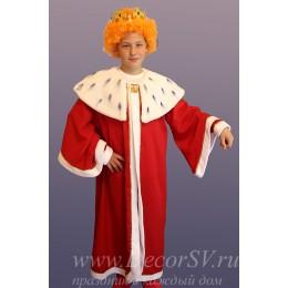 """Костюм для проведения детского праздника """"Король"""": мантия + корона."""