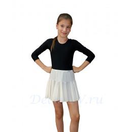 Юбка гимнастическая для девочки из бифлекса, цвет белый