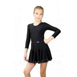 Юбка гимнастическая для девочки из бифлекса, цвет черный