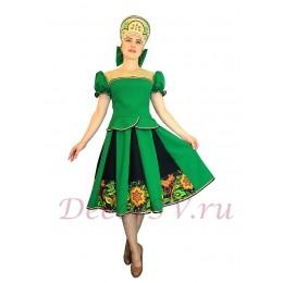 Русский народный костюм: кофта, юбка и кокошник. Цвет зеленый