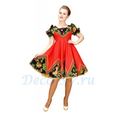 """- """"Русское народное платье для танца. Цвет красный"""" от производителя DecorSV. (Артикул: РНП-453 )"""