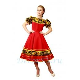 Русское народное платье для танца. Цвет красный.