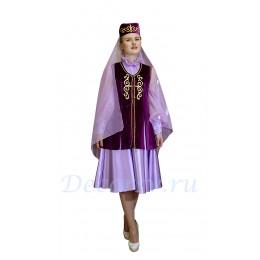 Татарский национальный костюм: платье, жилетка и головной убор с вуалью