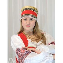 Русский народный кокошник с тесьмой. Красный.