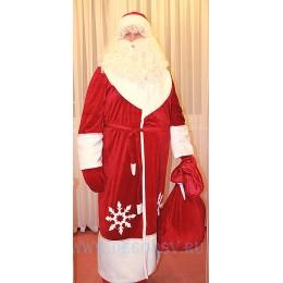 Новогодний костюм Деда Мороза - полный комплект из красного бархата - шуба со снежинками, пояс, шапка, варежки и МЕШОК. (Без бороды).