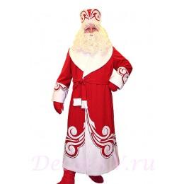 Новогодний костюм Деда Мороза красный. Комплект - шуба с узором, пояс, шапка, варежки (без бороды и мешка)