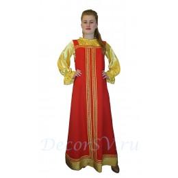 Русский костюм - блуза атлас золото и красный сарафан с тесьмой и золотой отделкой.