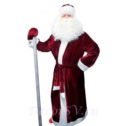 Новогодний костюм Деда Мороза из БОРДОВОГО бархата без снежинки. Комплект - шуба, пояс, шапка, варежки (без бороды и посоха).