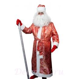 Новогодний костюм Деда Мороза из парчи. Комплект - шуба, пояс, шапка, варежки (без бороды и посоха).