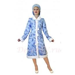 Новогодний костюм Снегурочки - из жаккардовой ткани. Шубка и маленький кокошник.