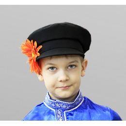 Картуз детский для русского народного костюма черный.