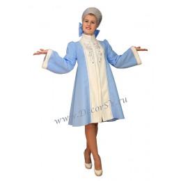 Новогодний костюм Снегурочки из габардина. Шубка и кокошник из голограммы с камнями.