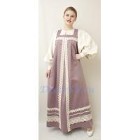 Русский народный костюм: сарафан, блузка и жабо. Цвет светло-сиреневый.