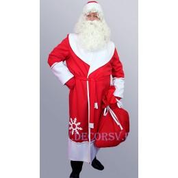 Новогодний костюм Деда Мороза - полный комплект из габардина со снежинками (без бороды). Шуба со снежинкой, пояс, шапка, варежки и МЕШОК.