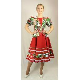 Платье танцевальное в русском стиле с платочным рисунком. Цвет темно-красный.