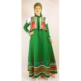 Русский народный костюм: сарафан, коротена и кокошник. Цвет зеленый.