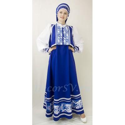 """- """"Русский народный костюм в стиле """"Гжель"""": сарафан синий, блузка и закрытый кокошник. Цвет синий."""" от производителя DecorSV. (Артикул: РНП-104 )"""