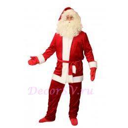 """Новогодний костюм - """"Санта Клаус"""" из бархата: куртка, штаны, колпак, пояс, варежки, МЕШОК."""