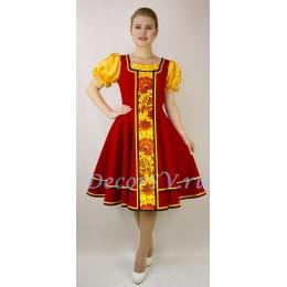Русский народный костюм: платье и подъюбник. Цвет красный