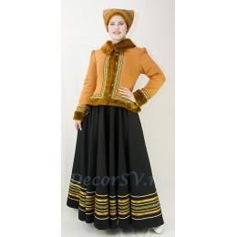 Зимний народный костюм: душегрея, юбка и кичка на голову.